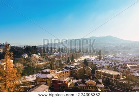 High angle view of Bern city in the winter of Switzerland.
