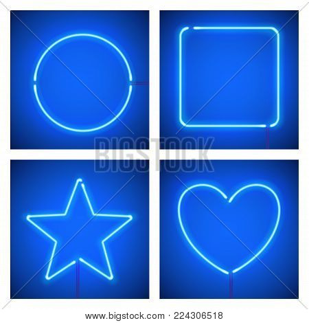Different shape blue neon frames. Vector realistic neon star, square, circle and heart on blue background