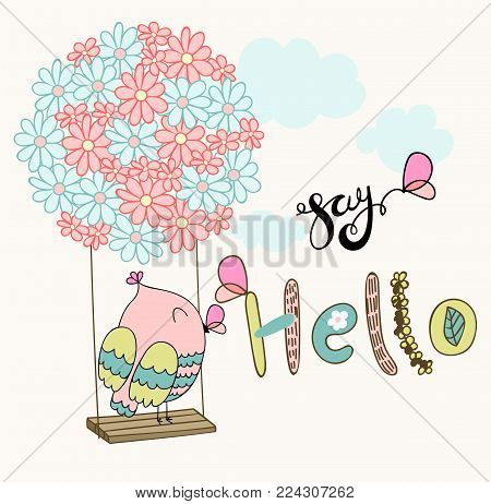 Card with cartoon owl on a flower swing in the clouds. Say hello.
