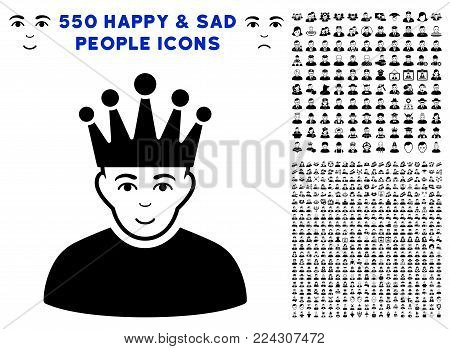 Moderator pictograph with 550 bonus sad and glad person pictographs. Vector illustration style is flat black iconic symbols.