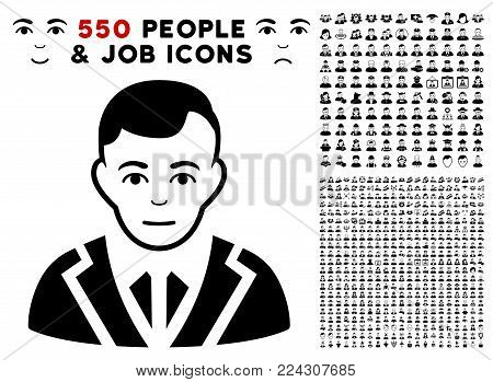 Noble icon with 550 bonus sad and happy jobs design elements. Vector illustration style is flat black iconic symbols.