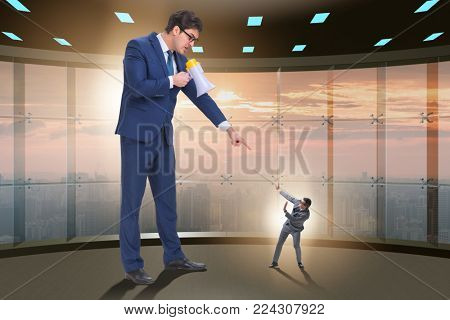 Bad angry boss shouting at employee with loudspeaker