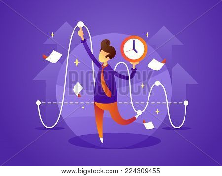 Business manager controls organize and manage time. Vector flat illustration