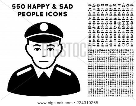 Soldier pictograph with 550 bonus pity and happy person design elements. Vector illustration style is flat black iconic symbols.