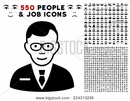 Specialist pictograph with 550 bonus pity and glad men graphic icons. Vector illustration style is flat black iconic symbols.