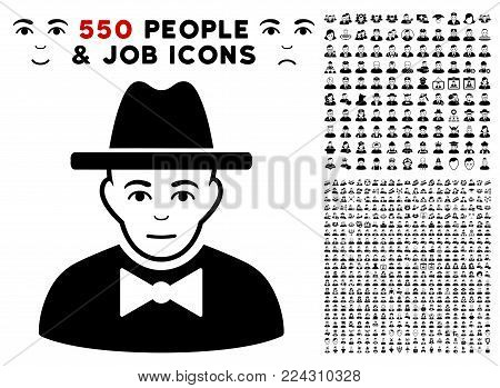 Spy pictograph with 550 bonus pitiful and glad jobs pictures. Vector illustration style is flat black iconic symbols.