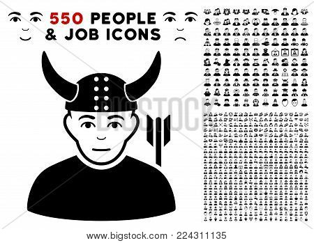 Warrior pictograph with 550 bonus pity and happy jobs pictographs. Vector illustration style is flat black iconic symbols.
