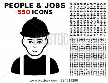 Worker icon with 550 bonus pitiful and happy people symbols. Vector illustration style is flat black iconic symbols.