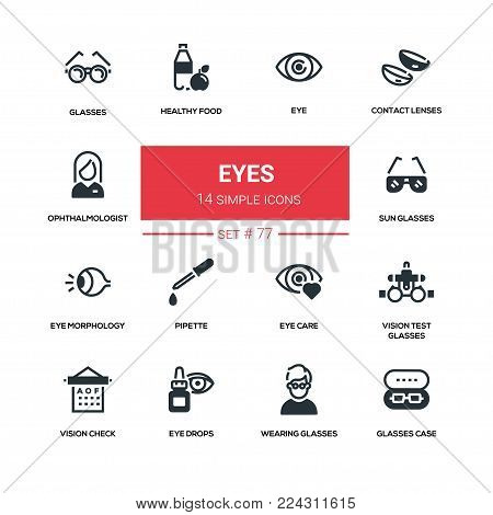 Eyes - line design silhouette icons set. High quality black pictogram. Contact lenses, ophthalmologist, healthy food, sunglasses, morthology, pipette, care, vision test glasses, check, drops, case