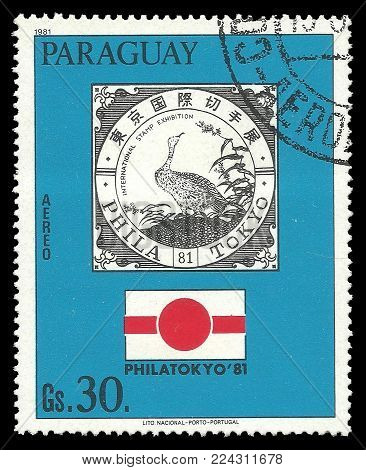 Paraguay - circa 1981: Stamp printed by Portugal, Color edition on Heads of state, shows Emblem of PHILATOKYO exhibition, circa 1981