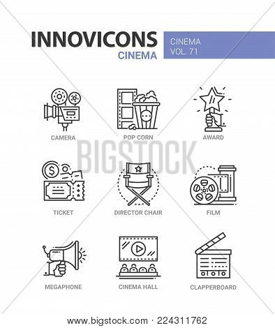 Cinema - set of modern thin line design icons on white background. High quality red and blue pictograms. Camera, pop corn, award, ticket, director chair, film, hall, megaphone, clapperboard