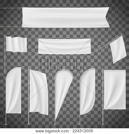 Set of blank banner, flag, flagpole, Flagstaff isolated on a transparent background. Stock vector illustration.