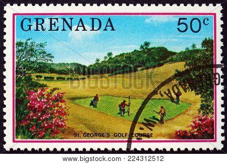GRENADA - CIRCA 1976: a stamp printed in Grenada shows St. George's golf course, tourist publicity, circa 1976
