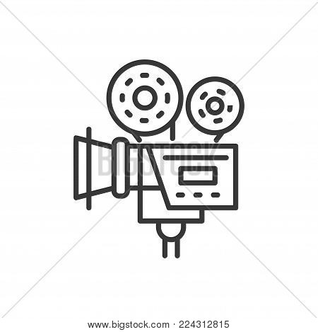Camera - line design single isolated icon on white background. High quality black pictogram. An image of a film-making instrument, tool. Cinematography concept