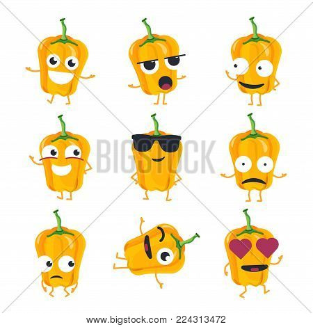 Funny yellow pepper - vector isolated cartoon emoticons. Cute emoji set with a nice character. A collection of an angry, surprised, happy, cheerful, crazy, laughing, sad vegetable on white background