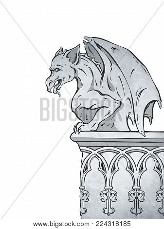 Gothic gargoyle hand drawn design element vector illustration.