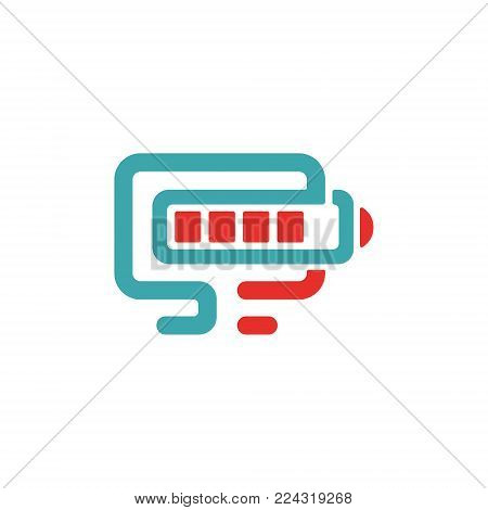 Vector illustration of PC and battery charging icon. Red and blue pc icon on white background. PC pictogram and battery charger. Laptop icon in two colors
