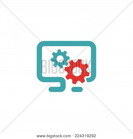 PC settings icon vector illustration. Red and blue pc setting icon on white background. PC pictogram and settings icon. Laptop setting icon in two colors.