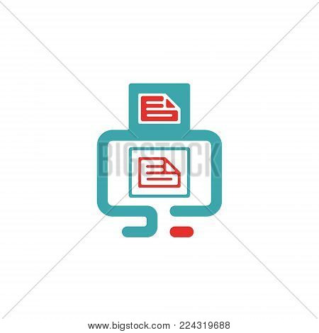 Vector illustration of document file mail icon. File icon on pc laptop. Open document in message icon. File icom on red and blue pc screen.