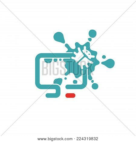 Web virus guard sign vector illustration. Virus security icon. Blue defence sign and red cp laptop. Virus guard on white background.