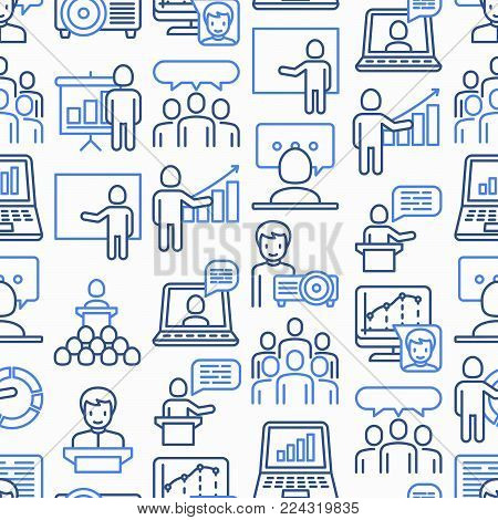 Presentation seamless pattern with thin line icons: seminar, human at tribune, meeting, projector, audience, video call, conference, discussion. Modern vector illustration.