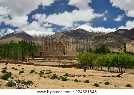 View on the beautifully located Thisuru Stupa Shastang in the Leh city in Ladakh, Jammu and Kashmir