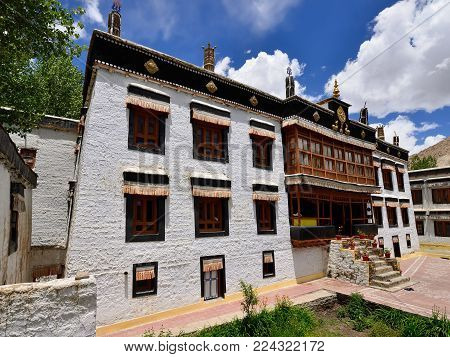 View on the beautifully Sankar Gompa Buddhist Monastery in the Leh city in Ladakh, Jammu and Kashmir. This region is a purpose of motorcycle expeditions organised by Indians