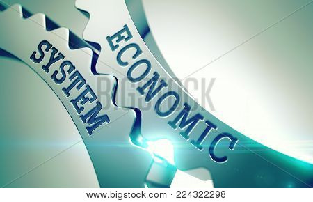 Economic System on Mechanism of Shiny Metal Cog Gears. Communication Concept in Technical Design. Economic System - Illustration with Lens Effect. 3D .