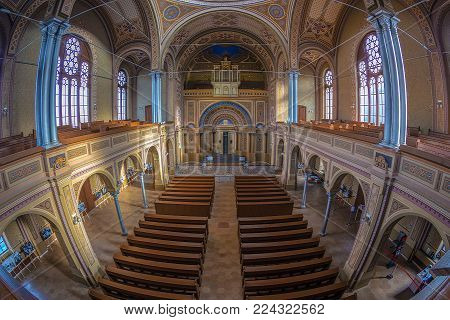 ORADEA, ROMANIA - JANUARY 27, 2018: Inside of the Zion Neurological Synagogue. Built between 1877-1878 in neo-maorical style with 1000 seats, ist the biggest of Romania and nr.3 in Europe.