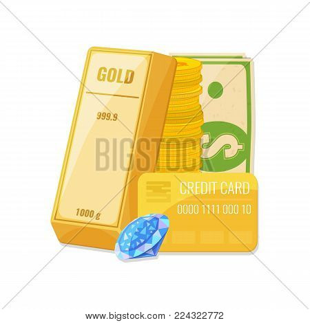 Gold bullion, a stack of coins, diamond and credit card. Capital, money management concept. Vector illustration