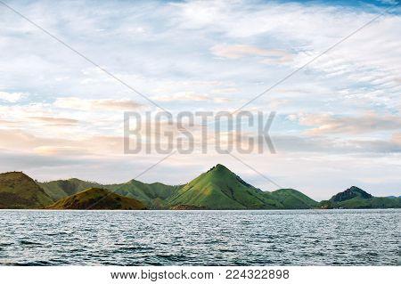 Islands of Komodo National Park in East Nusa Tenggara, Flores, Indonesia. Amazing marine seascape, landscape