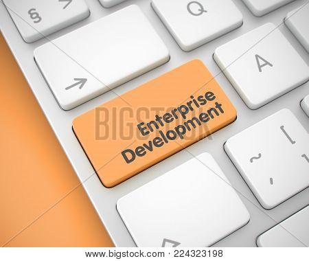 Business Concept: Enterprise Development on the Conceptual Keyboard lying on the Orange Background. Text on Keyboard Enter Key, for Enterprise Development Concept. 3D Render.