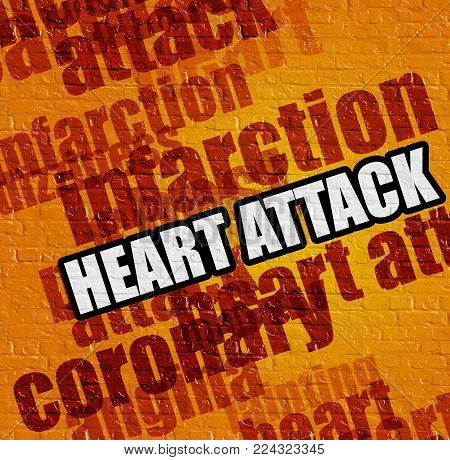 Modern medical concept: Heart Attack on Yellow Brick Wall . Yellow Brickwall with Heart Attack on the it .
