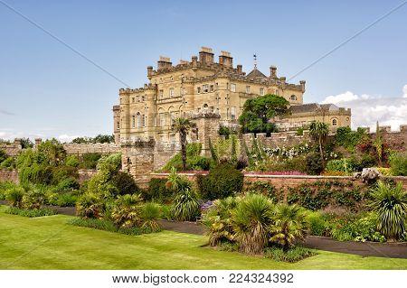 Calzean estate, Ayrshire, Scotland, UK: July 25, 2015 - Calzean castle and blossoming garden in Scotland, UK