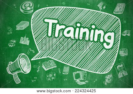 Speech Bubble with Inscription Training Doodle. Illustration on Green Chalkboard. Advertising Concept. Business Concept. Loudspeaker with Text Training. Cartoon Illustration on Green Chalkboard.
