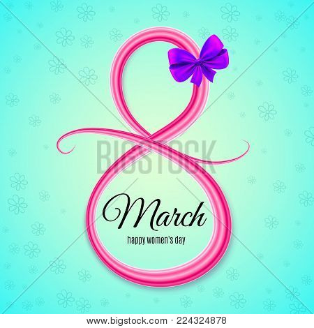 8 March Women's Day. International Women's Day Background. Greeting Card Template. Pink Number 8 Wit
