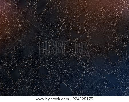 Abstract gold particles field, dark background. 3D render