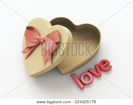 Open heart shaped gift box with bow and word Love. 3D render