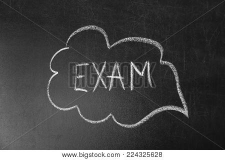 Word EXAM written on blackboard