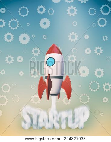 the launch of a rocket with cogwheels on background, concept of startup (3d render)