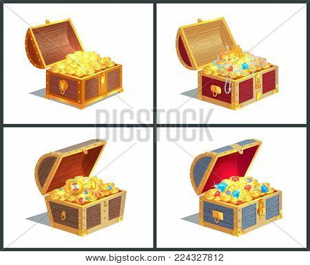Treasure Box Posters Collection, Casket With Golden Coins And Royal Crown, Diamonds And Jewelry With
