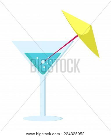 Margarita Cocktail In Glass On Long Leg Decorated With Yellow Umbrella Vector Illustration Isolated