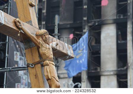 Kresy Wschodnie LBGT activist (Raguls) vandilise downtown of Kiev during pro - Porochenko coup or Revolution Dignity. Ukrainian LGBT for war against Russia and gay rights.April 19, 2014 Kiev, Ukraine
