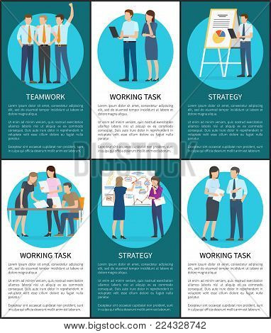 Set of working task teamwork strategy banners, bright vector illustration with working men and women, text sample, schedules and papers, black frames