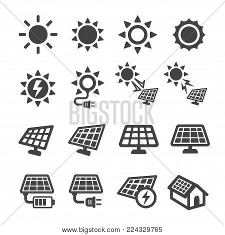 sun and solar energy icon set vector illustration