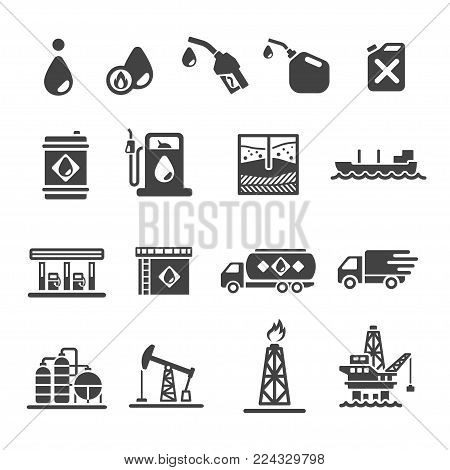 Petroleum and oil icon set vector illustration