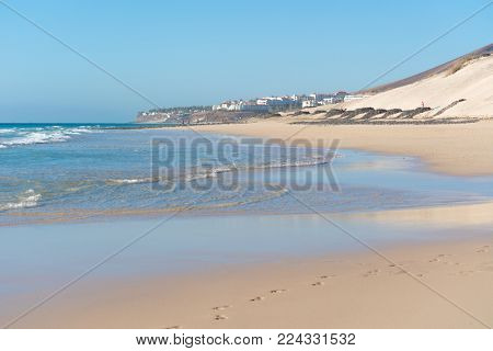 Sandy beaches in the Canaries Islands Morro Jable, Fuerteventura, Canary Islands, Spain