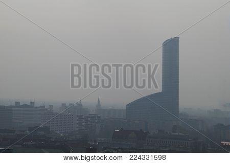 Sad view, smog in the Polish city, Wroclaw