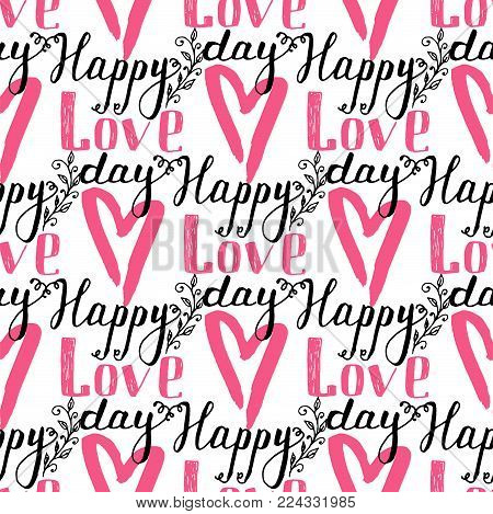 I love you text heart sharp vector seamless pattern background pink color card beautiful celebrate bright emoticon symbol holiday abstract art decoration. Romance shape design love amour.