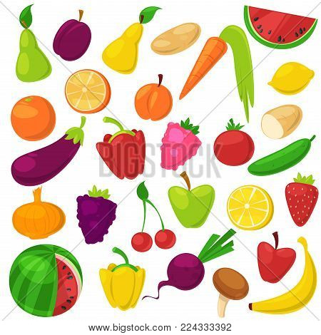 Fruits vegetables vector healthy nutrition of fruity apple banana and vegetably carrot for vegetarians eating organic food from grocery illustration vegetated set diet isolated on white background.
